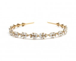 crystals leaf headband gold